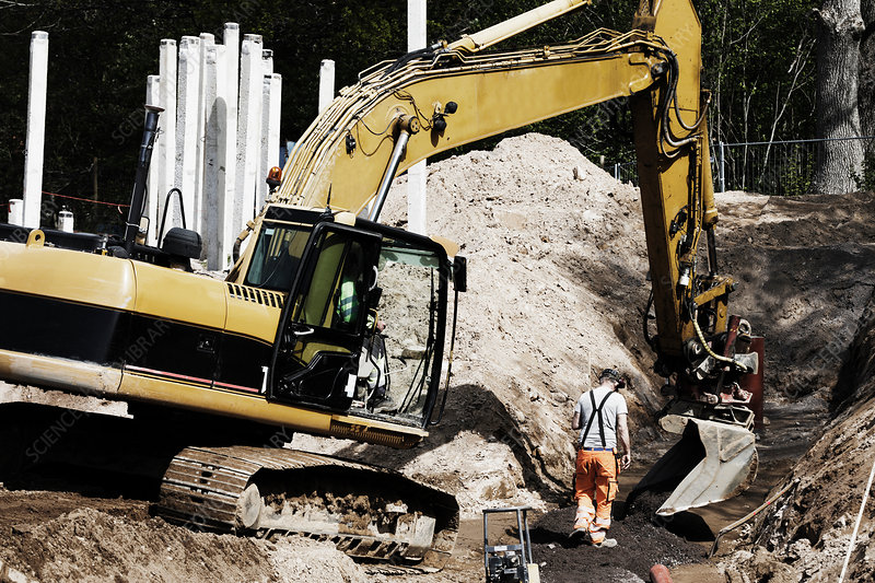 Earth mover on construction site