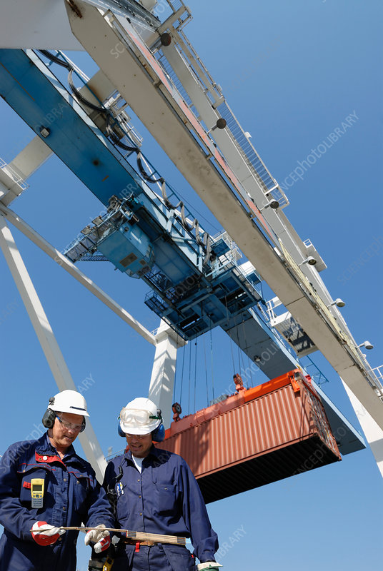 Shipping workers with cargo container