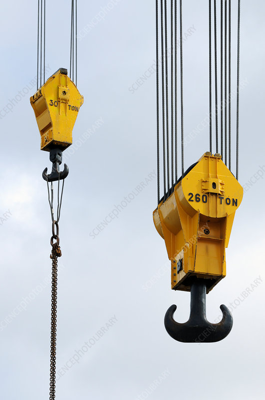 Crane hooks on construction site