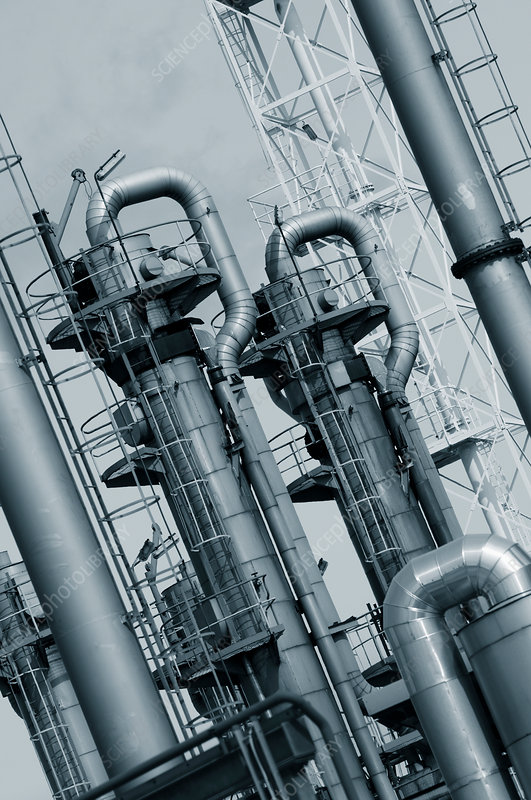 Pipes and chimneys on an oil and gas refinery
