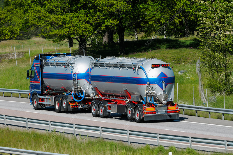 Oil tanker driving on highway