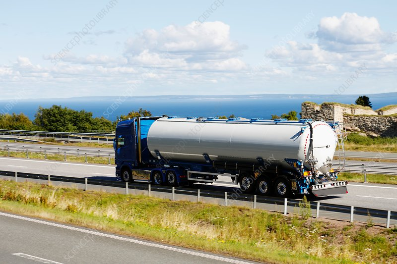 Oil tanker on highway
