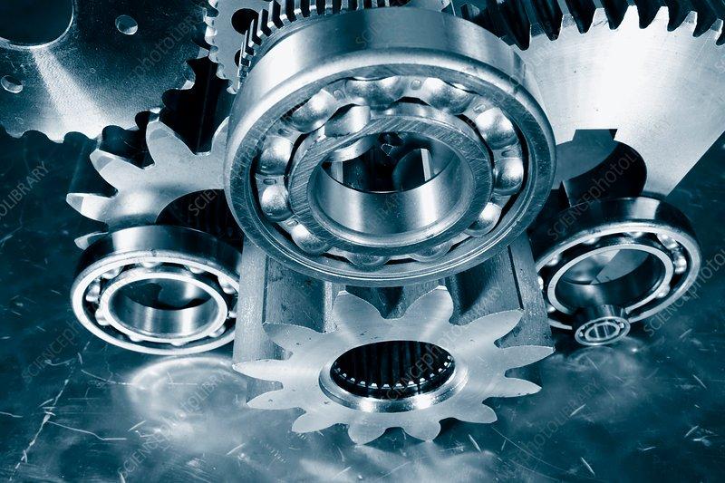 Metal cogs and ball bearings