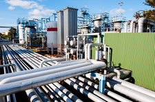 Pipework on an oil and gas refinery
