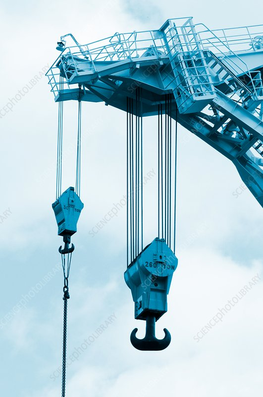Crane hooks on construction site