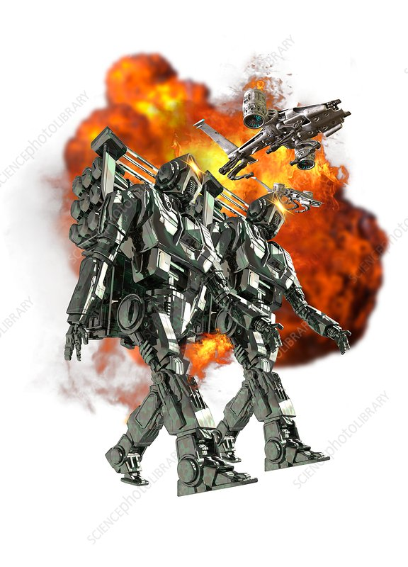 Robotic soldiers with ball of fire