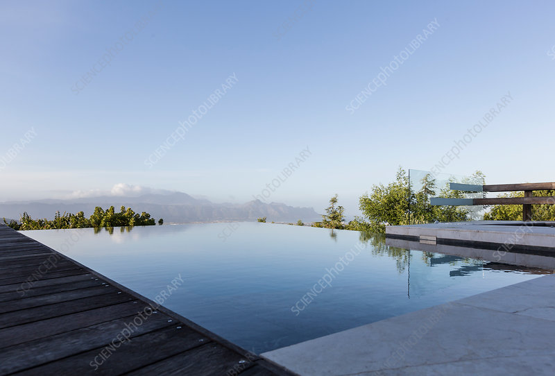 Tranquil infinity pool with mountain view