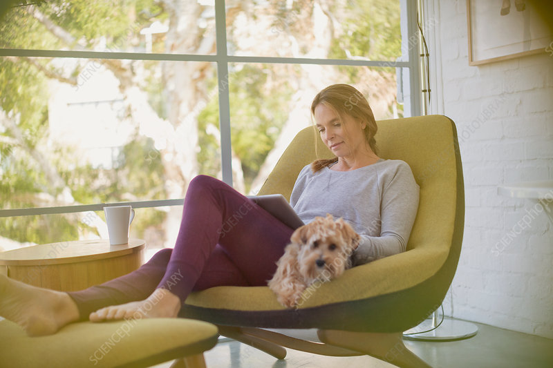 Woman with dog using digital tablet in chair
