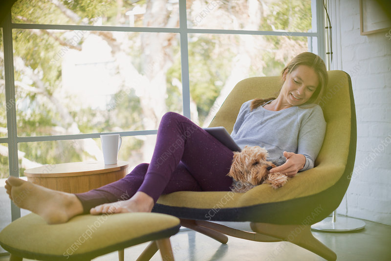 Woman with laptop relaxing and petting dog