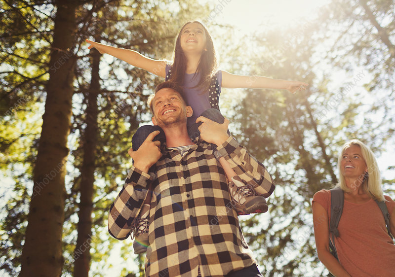 Father carrying daughter on shoulders, hiking