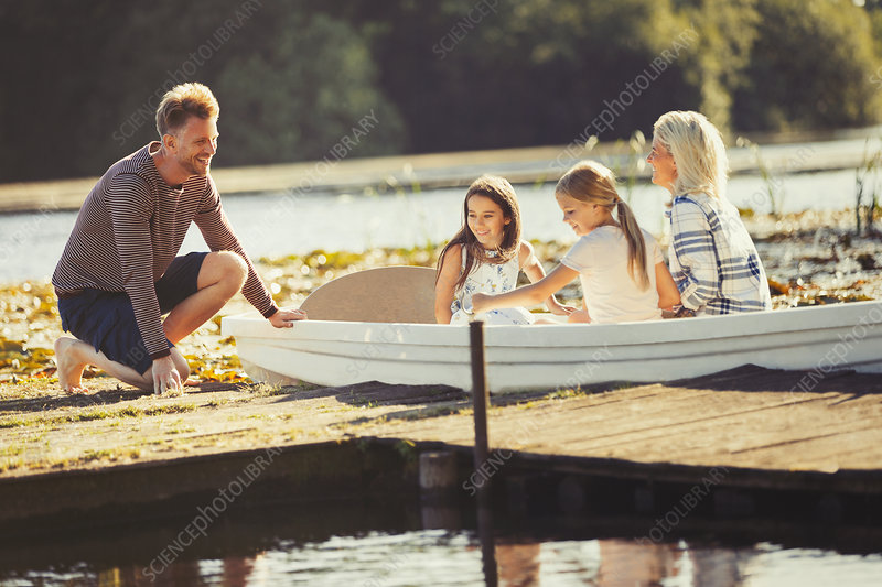 Family in canoe at lake dock