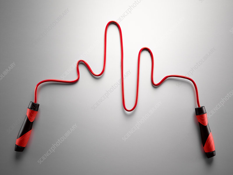 Red jump rope forming pulse trace