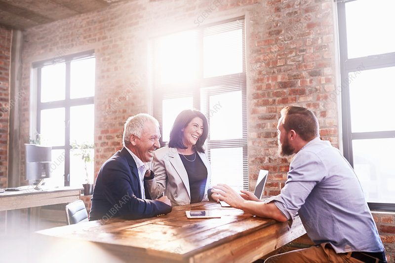 Smiling business people meeting at table in office