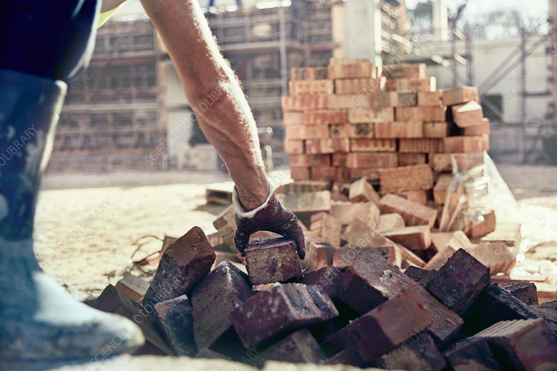 Construction worker bricklaying