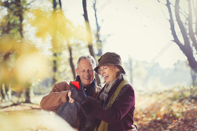 Senior couple using cell phone in autumn park