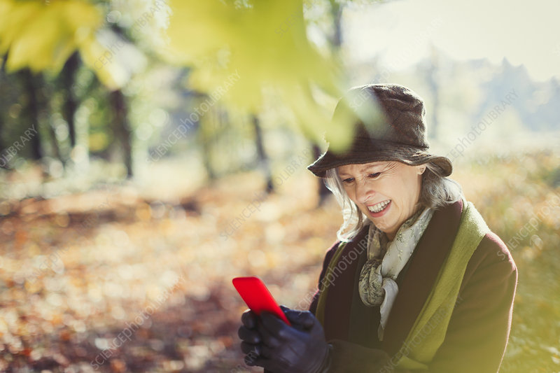 Senior woman using cell phone in autumn park