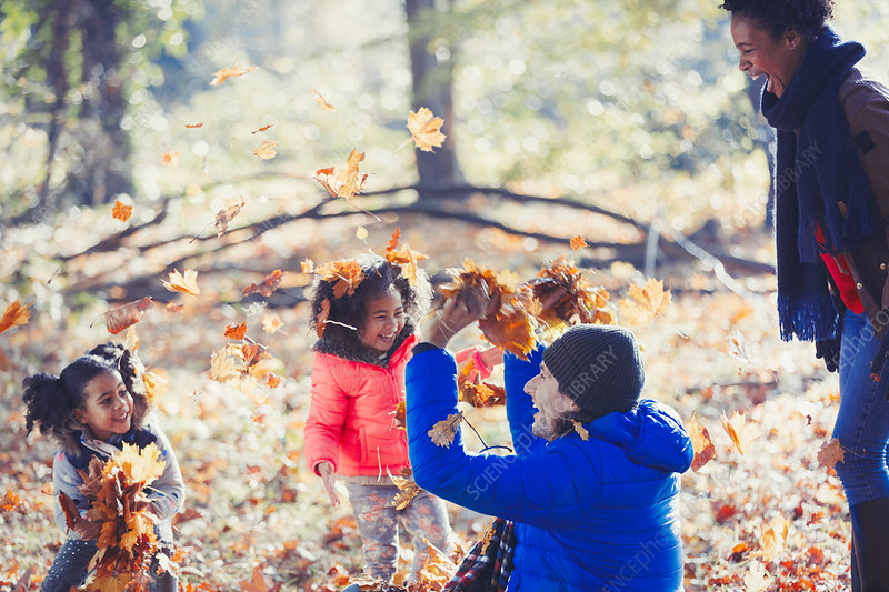 Playful father and daughters throwing leaves