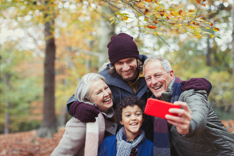 Family taking selfie in autumn woods