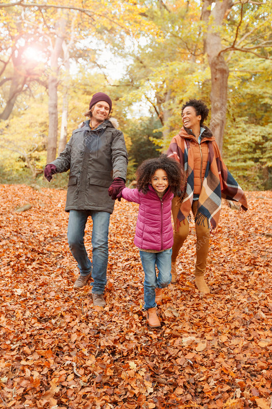 Young family holding hands walking in autumn woods