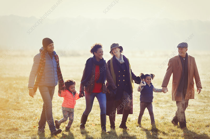 Family holding hands walking in autumn grass