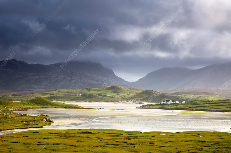 View of mountains and water, Hebrides, Scotland