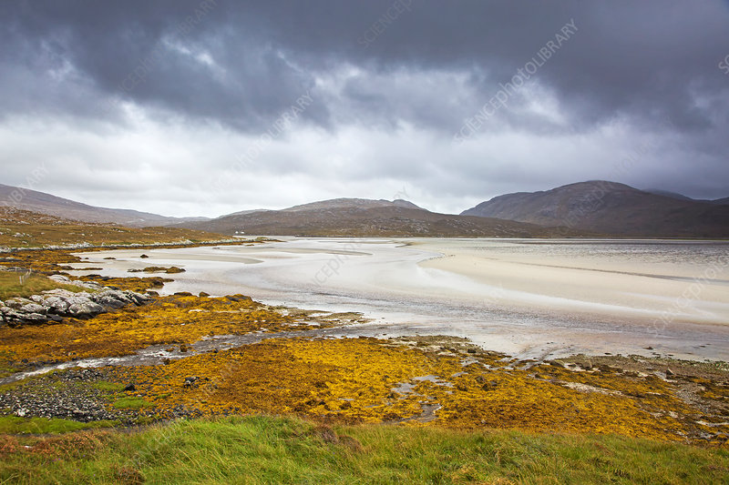 View of mountains and beach, Hebrides, Scotland