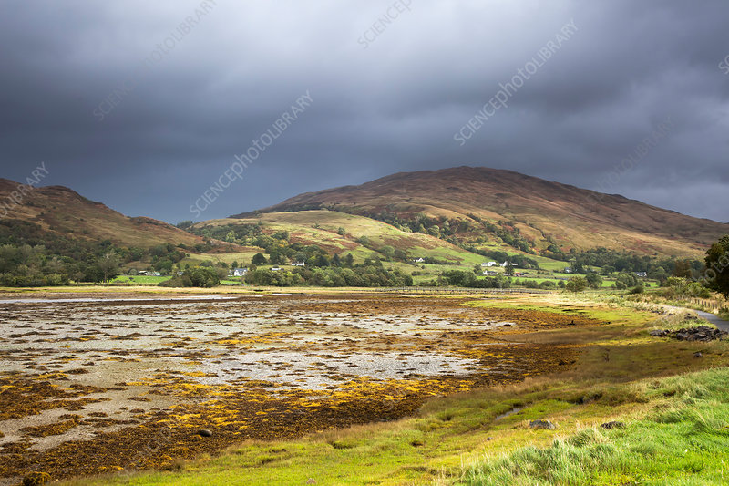 Storm clouds over rolling hills, Argyll, Scotland