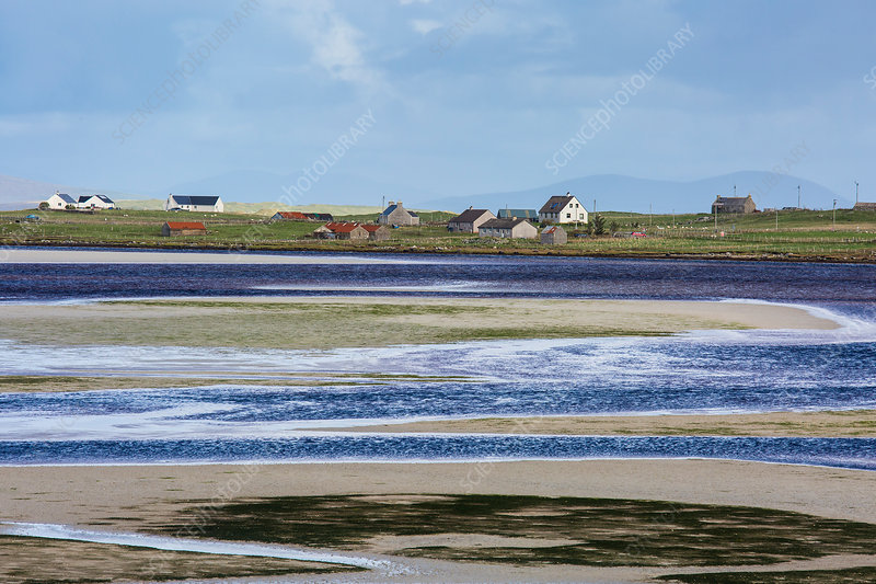 Fishing village and water, Hebrides, Scotland