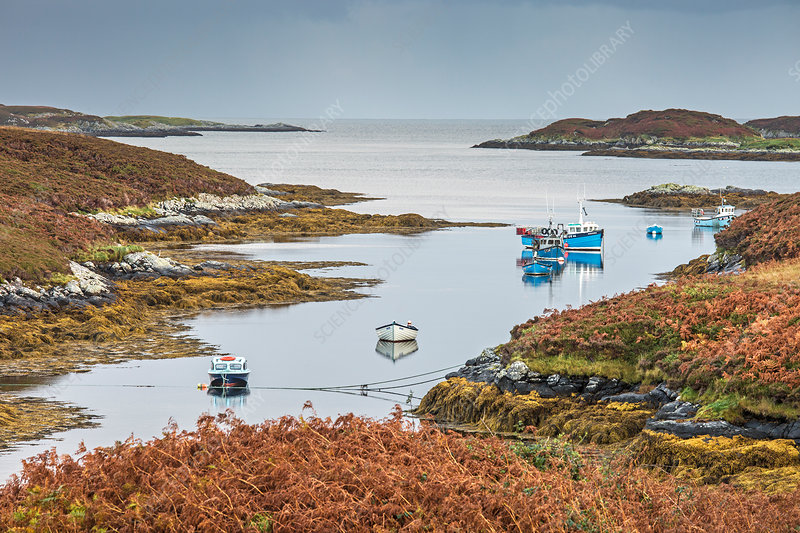 Fishing boats on lake, Hebrides, Scotland