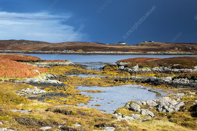 View rocks and lake, Hebrides, Scotland