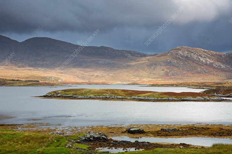 Clouds over hills and lake, Hebrides, Scotland