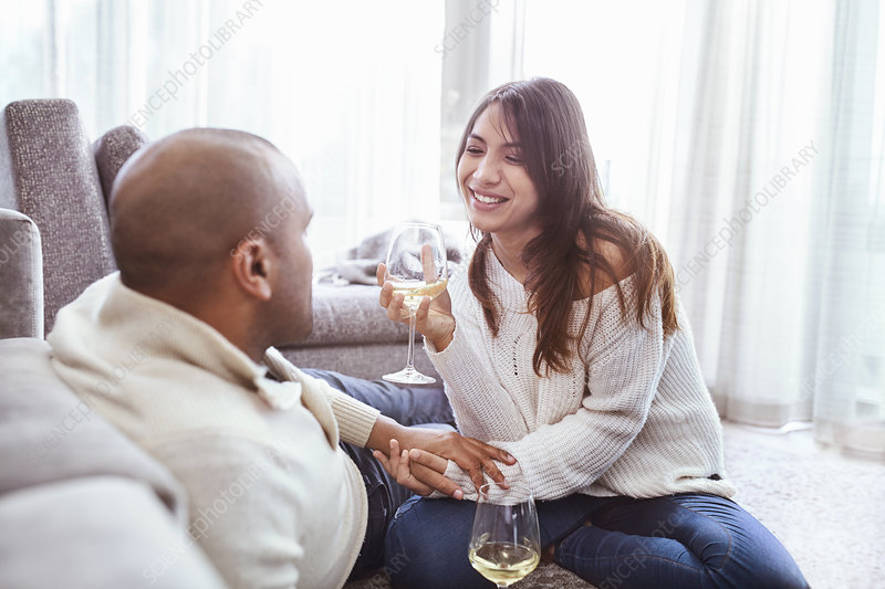 Smiling couple drinking white wine in living room