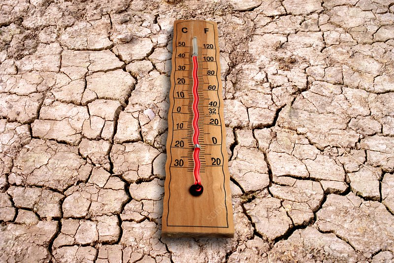 Cracked earth and thermometer