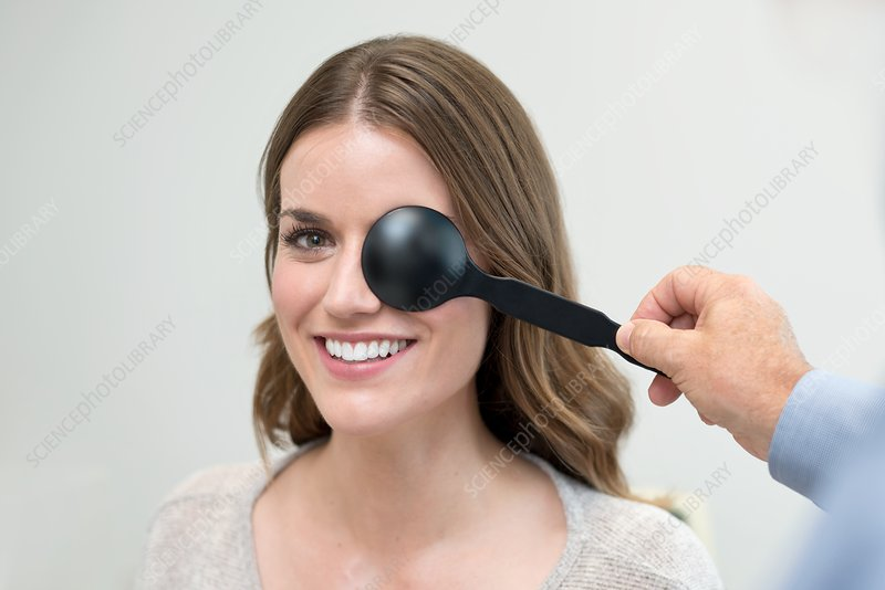 Woman having her eyes tested