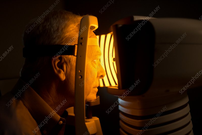 Man having eye test