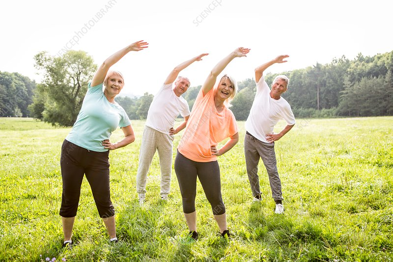 Four people in field exercising