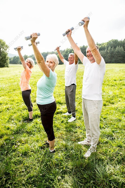 Four people exercising with hand weights in field