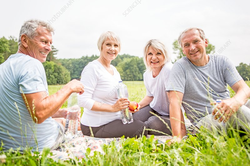 Four people sitting on grass with water