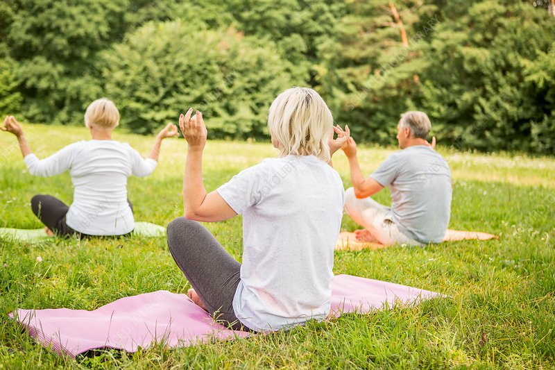 Three people doing yoga in field