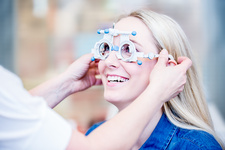Woman having eye examination