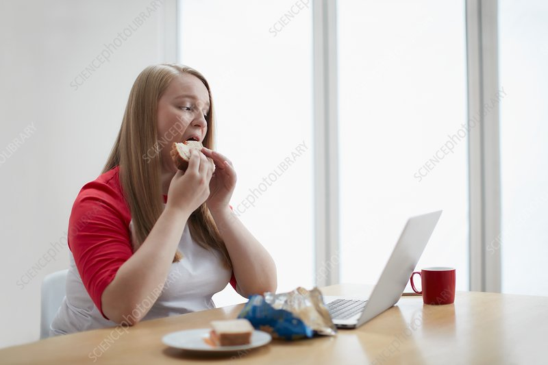 Young woman with laptop eating sandwich
