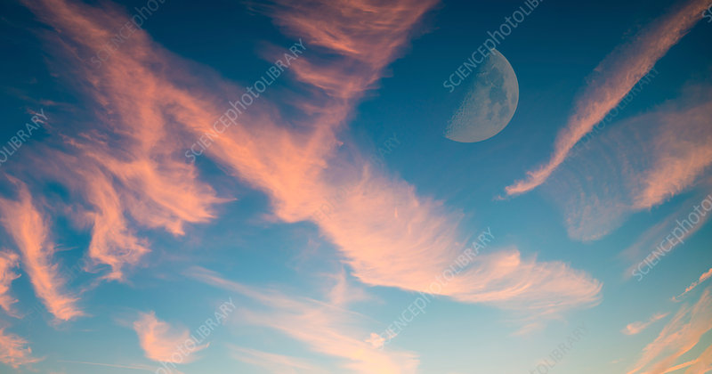 Half moon in sky with pink clouds