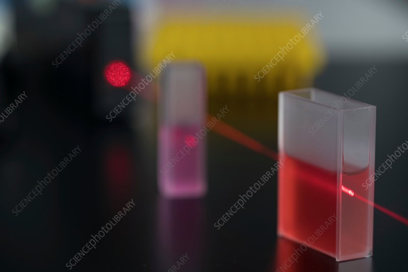 Cuvette with red laser beam