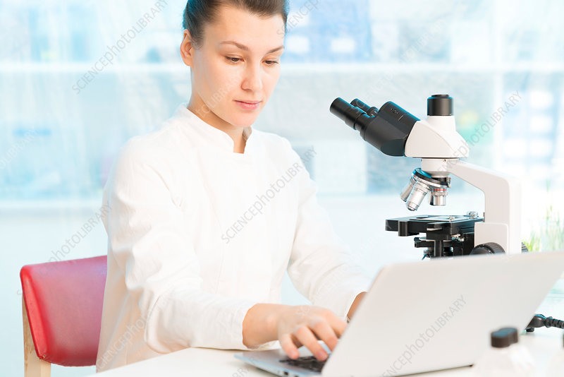 Scientist using laptop with microscope