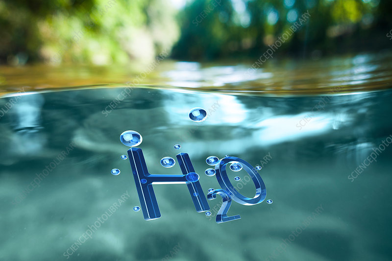 The chemical symbol for water, H2O