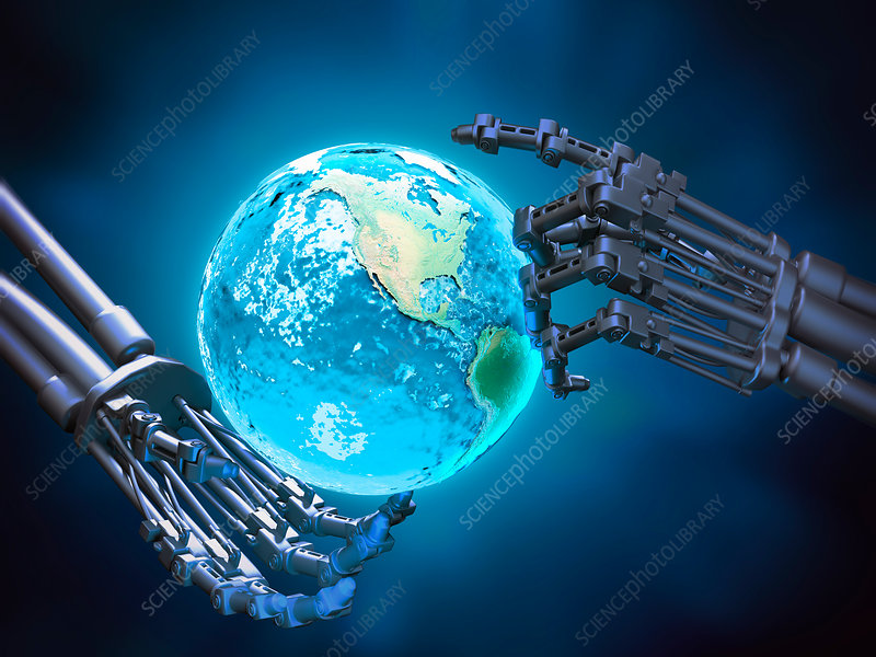 Robotic hands holding Earth, illustration