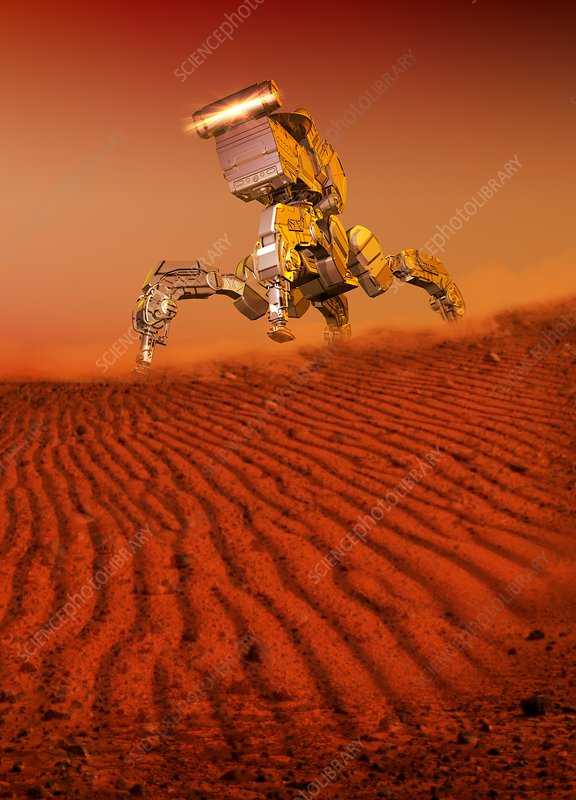 Robot on surface of red planet, illustration