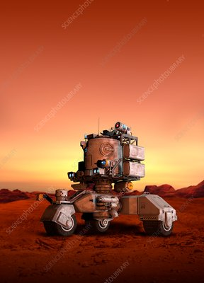 Vehicle on surface of red planet, illustration