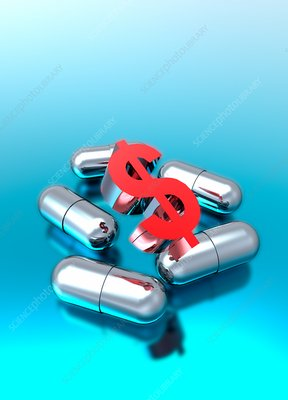 Capsules and dollar symbol , illustration