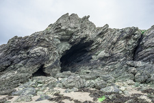 Folded rock strata on Anglesey, Wales